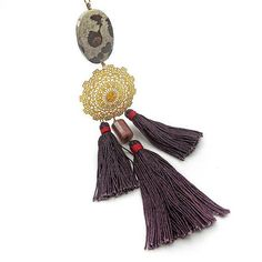 Long Chunky Tassel Necklace/ Tassel Statement Necklace/ Tassel bib Necklace / Burgundy plum/ Bohemian Jewelry/ Ethnic Jewelry/ Boho Fashion  by osofreejewellery