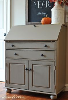 Dear Lillie: A Desk Makeover and Autumn Chalkboard paint - kingsbury gray
