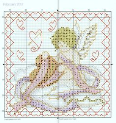 """""""Cupid's Passion Chart"""" (February) from """"Joan Elliott's 2013 Stitcher's Diary"""" from """"The World of Cross Stitching"""" magazine.  Apologies for the thick line down the centre, but the chart straddles two page of a not very flexible hardback book. The main cross stitches are worked in 2 strands of stranded cotton and the chart lists the colour numbers for Anchor, DMC and Madeira threads. On 14ct canvas the design measures about 12cm/4.75"""" square."""