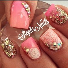awesome Stephanie Rochester's (@_stephsnails_) Instagram photo – Had to try the stamping plate-3d flower mold together! It's such a Pretty combination! #pink#coral#acrylicfade#goldglitter# – PixGram - Pepino Nail Art Design