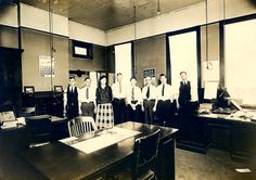 Workers in the office at Southern Railway's Coster Shops, 1920's. My Grandfather, Enoch Cox, is 2nd from left.