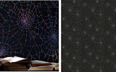 RTO-34647   Big Dipper - Black Holograph Foil Spider Web Wallpaper