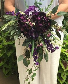 Shades of Purple Cascading Bridal Bouquet-Silk Cascading Bridal Bouquet-Purple Bouquet-Peonies-Hydrangeas-Statice-Ivy-Eucalyptus