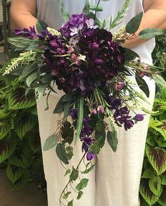 Shades of Purple Cascading Bridal Bouquet-Silk Cascading Bridal Bouquet-Purple Bouquet-Peonies-Hydrangeas-Statice-Ivy-Eucalyptus