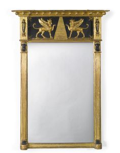 A REGENCY PART-EBONIZED GILTWOOD PIER MIRROR EARLY 19TH CENTURY