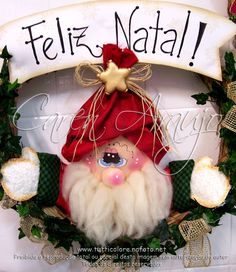 Christmas Holidays, Christmas Crafts, Christmas Ornaments, Making Faces, Soft Sculpture, Diy And Crafts, Alice, Santa, Wreaths