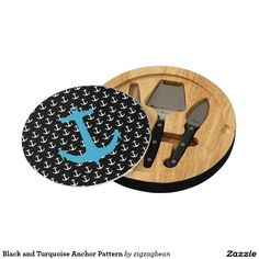 Black and Turquoise Anchor Pattern Cheese Board