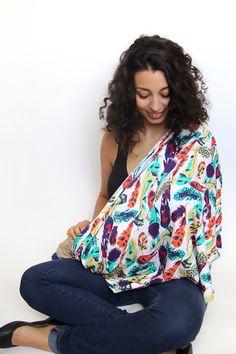 Nursing Scarf, Feathers Breastfeeding  Scarf, Nursing Cover, Breastfeeding Cover by cleverfinchdesigns on Etsy https://www.etsy.com/listing/214715861/nursing-scarf-feathers-breastfeeding