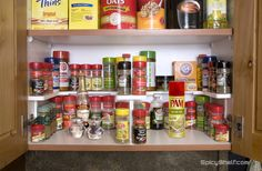 Use Spicy Shelf together to create storage for up to 72 spice containers all different sizes and shapes.