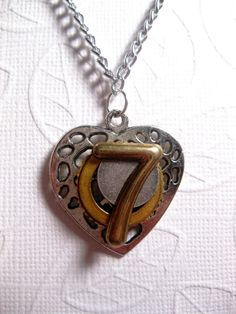 Lucky 7 Steampunk Heart Necklace by FashionCrashJewelry on Etsy