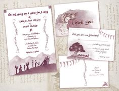Lord of the Rings Wedding Invitations- Nerdy/Geeky Invitation Set- Printable Invites- DIY Wedding