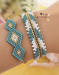 Definitely imitate – Women's Here - DIY Schmuck Beaded Bracelet Patterns, Bracelet Designs, Beading Patterns, Beaded Earrings, Beaded Bracelets, Loom Beading, Seed Bead Jewelry, Bead Jewellery, Bead Earrings