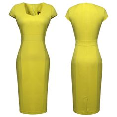 Womens Square Neck Short Sleeve Tunic Bodycon Slim Fit Pencil Dress US Size 4-12 Features:  Intro:  Square Neck ,Short Sleeve, Bodycon, Knee-length ,Office Wearing, Pencil Dress  Color: Yellow Material:  Cotton, Nylon,Spandex Package:  1 x Dress (other accessories on pictures are NOT included.)
