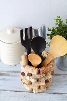 Wine Cork Craft Ideas - DIY Kitchen Utensil Holder #WineIdeas