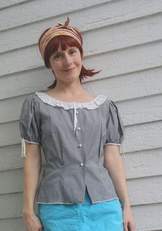 Vintage Gingham Blouse Eyelet Collar Rockabilly by soulrust, $34.00