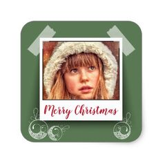 """Polaroid"" Merry Christmas Stickers/ Green Square Sticker - christmas craft supplies cyo merry xmas santa claus family holidays"