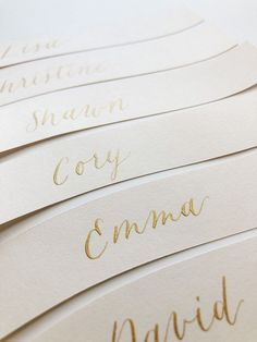 Placecards cut in wavey shapes with gold metallic calligraphy Romantic Wedding Receptions, Wedding Reception Tables, Intimate Weddings, Reception Decorations, Gold Wedding, Elegant Wedding, Wedding Day, Blush Wedding Palette, Elopements