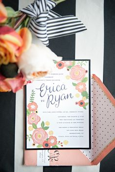 Pink, black + white goodness with a side of stripes + polka dots! Photography by carlateneyck.com  Read more - http://www.stylemepretty.com/2013/09/24/middletown-barn-wedding-from-carla-ten-eyck/