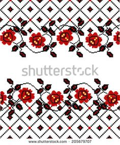 "Folk Embroidery Patterns The stylized ethnic ornament ""the Ukrainian embroidery"" - Folk Embroidery, Learn Embroidery, Embroidery For Beginners, Embroidery Techniques, Cross Stitch Embroidery, Embroidery Patterns, Machine Embroidery, Floral Embroidery, Cross Stitch Needles"