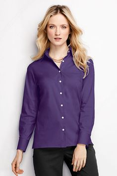 15ddf72fbb289 Women s Long Sleeve Stretch Broadcloth Blouse from Lands  End