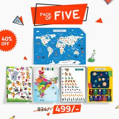 Educational Tiny Tots Pack offer -  India Map, World Map, Numbers, Alphabets, Solar System