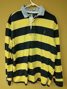 Classic Blue Yellow Striped Ralph Lauren Polo Rugby Shirt 2XL Men's Long Sleeve