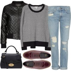 Sweater and leather quilted jacket and torn skinnies and burgundy oxfords