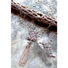 Romantic Victorian Style Silver Pendant Necklace with Silver Tassel ($125) ❤ liked on Polyvore featuring jewelry, necklaces, tassle necklace, victorian pendant necklace, silver tassel necklace, silver jewellery and victorian necklace