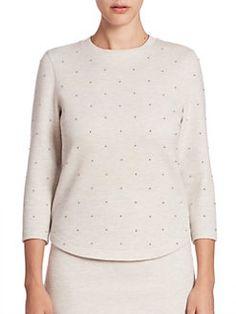 Akris punto - Cotton Jersey Pearl Detail Top