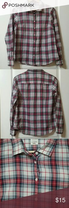 J. CREW PLAID BUTTON DOWN SHIRT SIZE M Bought this a few years ago at J.Crew. Wore many times. Normal wash and wear over the years. Has a naturally faded look. No rips, tears, stains that I see. Colors are red, white, and blue. 99% cotton, 1% spandex. J. Crew Tops Button Down Shirts