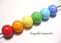 Polka Dot Rainbow Lampwork Glass Beads