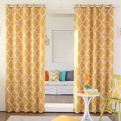 Aurora Home Moroccan Tile Room Darkening Grommet Top 84-inch Curtain Panel Pair (Yellow), Size 52 x 84 (Polyester, Geometric)