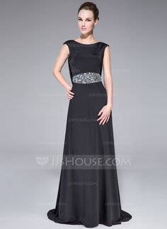A-Line/Princess Scoop Neck Sweep Train Jersey Evening Dress With Beading (017041039)
