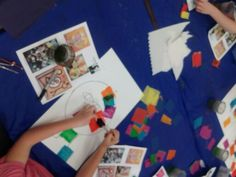 """Using  bleeding tissue paper to create a Miro-inspired project.  """"Spotlight on Famous Artists"""" (ages 7-10)"""