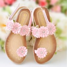 Pink Flower Girl Girls Junior Pageant Party Bridesmaid Sandals Shoes  SKU-133051