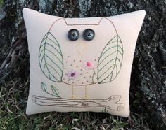 Owl Pillow Hand Embroidered Owl Decor Unique by WickedlyCreative
