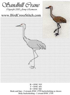 free sandhill crane cross stitch pattern