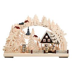 3D-Double-Arch - Seiffen in Winter - 44x29x7cm / 17x11x3 inch authentic handcraft from the German Ore Mountains. Christmas decoration Made in Germany.