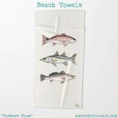 "Beach Towel • ""Inshore Slam"" fish art by Amber Marine ~~~~~~~~~~~~~~~~~~~~~~~~~~ #redfish #snook #trout #beach"