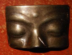 ButtonArtMuseum.com - VINTAGE SILVERED  METAL  BUTTON  - HANDMADE SIGNED REALISTIC  FACE MASK