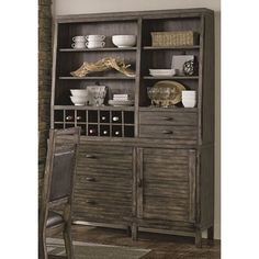 Place this buffet in your dining room or kitchen to create additional space for your dishes and other household items. This versatile buffet offers multiple storage options including shelves, cabinets