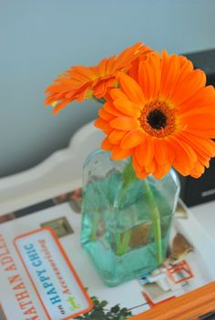 simple flower bouquet- pretty orange daisies!