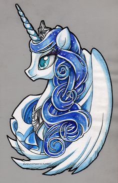 Princess Luna. Watercolor & Ink version, in no purple colors.