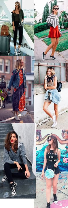 Street style look com tênis Converse