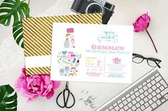spa party invitations nail polish easy