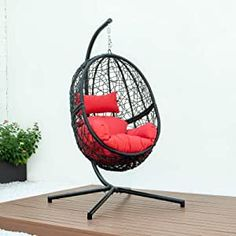 DISENO Swing Chair Outdoor Patio Lounge Chair, with All-Steel Support Stand & Base, Complete Set, Including One UV Rated & Waterproof Nylon Fabric Cushion Seat - 3 Available Colours (Red) Decor Interior Design, Interior Decorating, Patio Lounge Chairs, Swinging Chair, Cushion Fabric, Seat Cushions, Colours, Steel, Canada