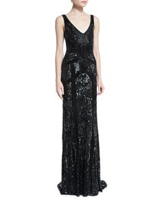 Sleeveless Beaded Column Gown  by Theia at Neiman Marcus.