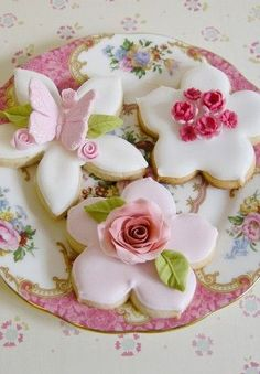 image of Homemade Wedding Cookies with Pink Edible Sugar Roses and Butterflies