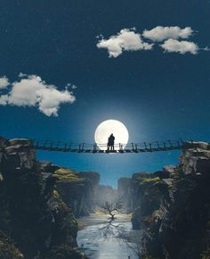 Moonlight couple on a bridge Sky Moon, Moon Art, Stars And Moon, Beautiful Moon, Beautiful Places, Beautiful Pictures, Shoot The Moon, Moon Pictures, Moon Photography