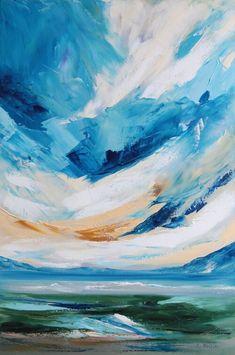 Blue Heaven Blue Painting, Oil Painting Abstract, Acrylic Painting Canvas, Oil On Canvas, Canvas Size, Bird Artists, Irish Art, Coastal Art, Seascape Paintings